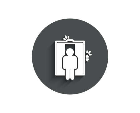 Lift simple icon. Elevator sign. Transportation between floors symbol. Circle flat button with shadow.