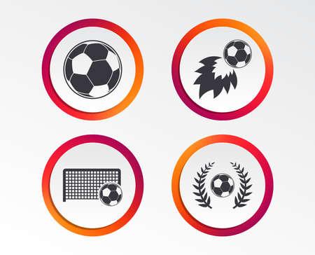 Football icons. Soccer ball sport sign. Goalkeeper gate symbol. Winner award laurel wreath. Illustration