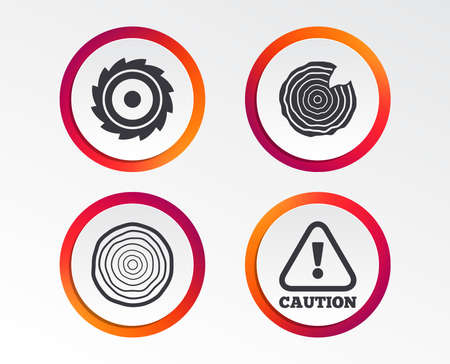Wood and saw circular wheel icons. Attention caution symbol. Sawmill or woodworking factory signs.