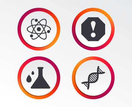 Attention and DNA icons. Chemistry flask sign. Atom symbol. Infographic design buttons.