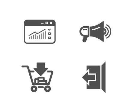 メガホン、ショッピング、Webトラフィックのアイコンのセット。サインアウトします。