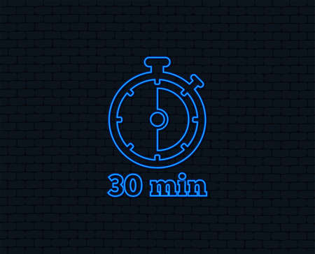 Neon light for Timer sign icon. 30 minutes stopwatch symbol.