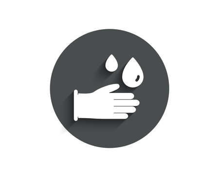 Cleaning rubber gloves simple icon. Hygiene sign. Washing Housekeeping equipment sign.
