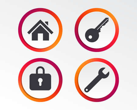 Home, key, padlock and wrench icon with colorful cicle border 일러스트