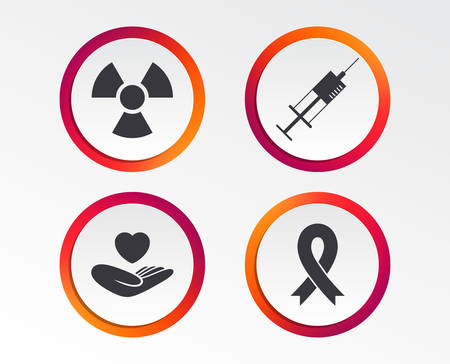 Set of icons showing a syringe, hand with a heart, radiation icon and a ribbon sign in a circle border