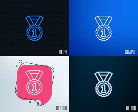 Reward Medal line icon. Winner achievement or Award symbol. Vettoriali