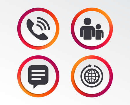Communication signs. Infographic design buttons. Circle templates.