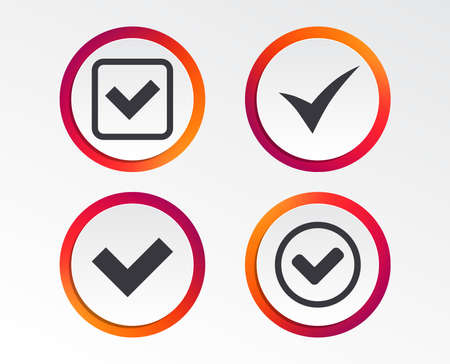 Check icons. Infographic design buttons. Circle templates. Illustration