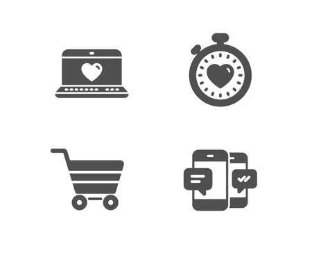 Set of Market sale, Heartbeat timer and Web love icons Illustration