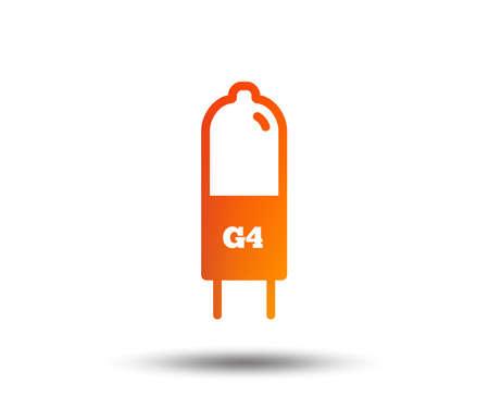 Light bulb icon. Lamp G4 socket symbol. Led or halogen light sign.