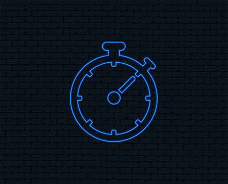 Timer sign icon. Neon light stopwatch symbol