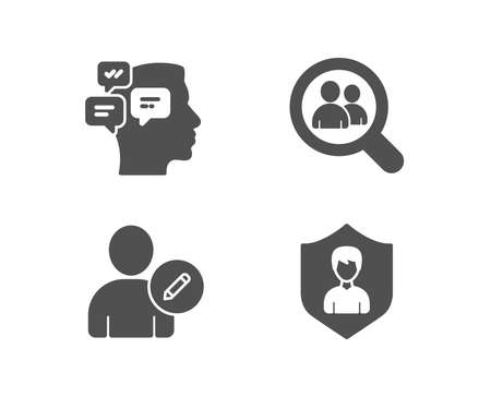 Set of Edit user, Messages and Search employees icons. Security agency sign.