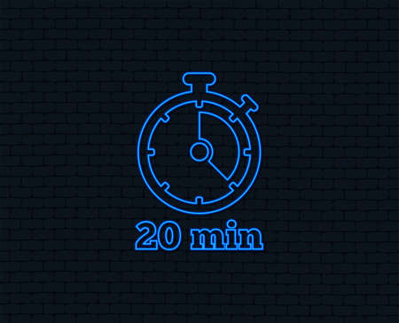 Neon light. Timer sign icon. 20 minutes stopwatch symbol. Glowing graphic design.