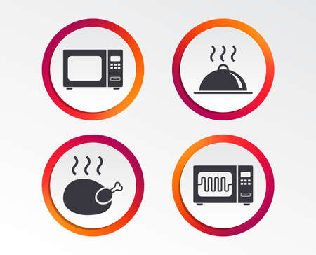 Microwave grill oven icons. Circle templates. Illustration