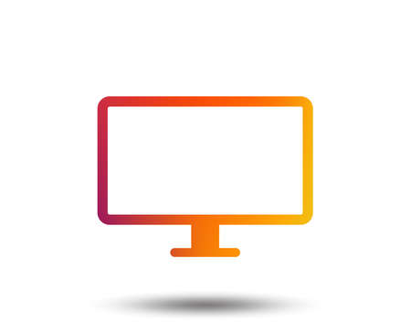 Computer widescreen monitor sign icon. Blurred gradient design element. Vivid graphic flat icon. Vector
