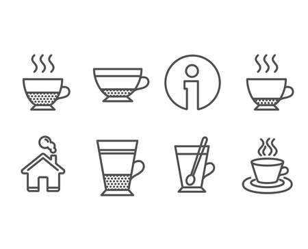 Set of Espresso, Dry cappuccino and Doppio icons. Double latte, Tea mug and Tea cup signs. Hot drink, Beverage mug, Coffee drink. Cup with teaspoon. Information and Home design elements. Vector