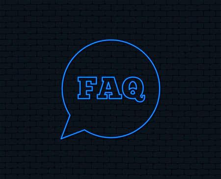FAQ information sign icon. Help speech bubble symbol. Glowing graphic design.