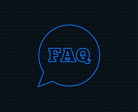 FAQ information sign icon. Help speech bubble symbol. Glowing graphic design.
