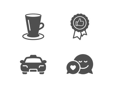 Set of Taxi, Positive feedback and Teacup icons. Dating sign. Passengers transport, Award medal, Tea or latte. Love messenger.  Quality design elements. Classic style. Vector