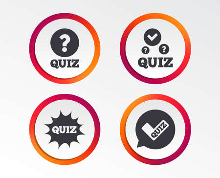 Quiz icons. Speech bubble with check mark symbol. surprise boom sign. Infographic design buttons. Circle templates. Vector