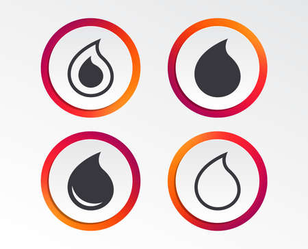 Water drop icons. Tear or Oil drop symbols. Infographic design buttons. Circle templates. Vector Illustration