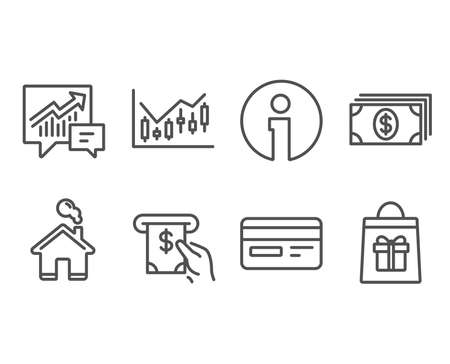 Set of Financial diagram, Atm service and Accounting icons. Credit card, Banking and Holidays shopping signs. Candlestick chart, Cash investment, Supply and demand. Vector