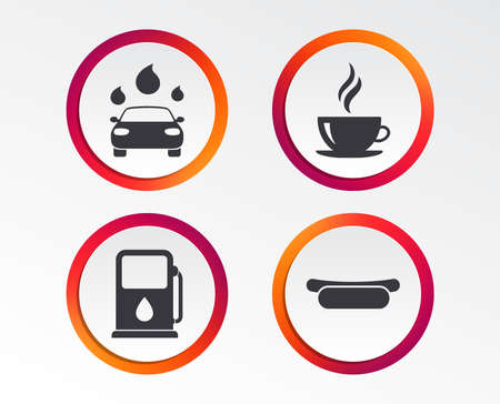 Petrol or Gas station services icons. Automated car wash signs. Hotdog sandwich and hot coffee cup symbols. Infographic design buttons. Circle templates. Vector