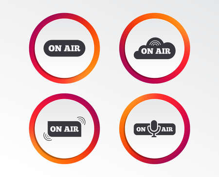 On air icons. Live stream signs. Microphone symbol. Infographic design buttons. Circle templates. Vector