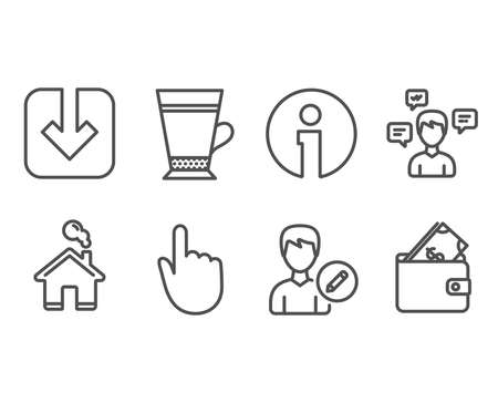 Set of Hand click, Latte and Load document icons. Conversation messages, Edit person and Wallet signs. Location pointer, Coffee beverage, Download arrowhead.