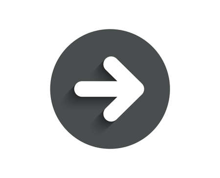 Next arrow simple icon. Forward Arrowhead symbol. Navigation pointer sign. Circle flat button with shadow. Vector