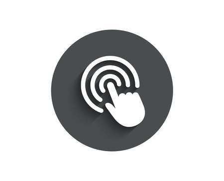 Hand Click simple icon. Finger touch sign. Cursor pointer symbol. Circle flat button with shadow. Vector Illustration