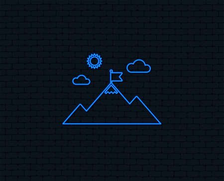 Flag on mountain icon. Leadership motivation sign. Mountaineering symbol. Glowing graphic design.