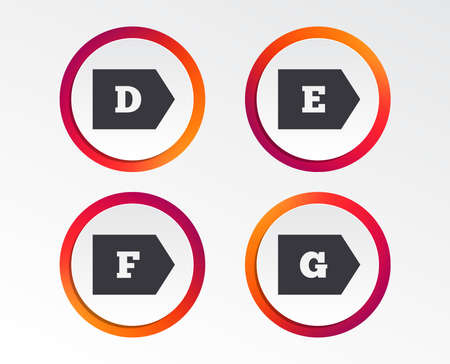 Energy efficiency class icons. Energy consumption sign symbols. Class D, E, F and G. Infographic design buttons. Circle templates. Vector