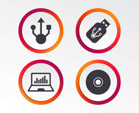 Usb flash drive icons. Notebook or Laptop pc symbols. CD or DVD sign. Compact disc. Infographic design buttons. Circle templates. Vector