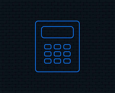 Calculator sign icon. Bookkeeping symbol. Glowing graphic design.