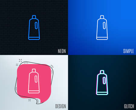 Glitch, Neon effect of Cleaning shampoo line icon. Washing liquid or Cleanser symbol. Housekeeping equipment sign. Trendy flat geometric designs. Vector Stock Illustratie