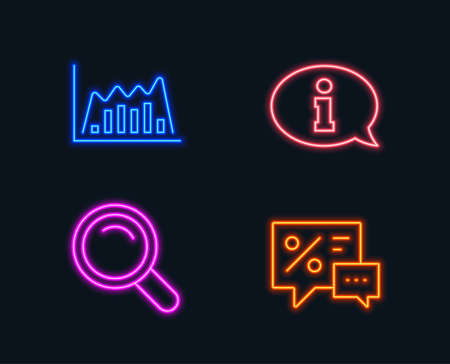 Set of Search, Infographic graph and Information icons. Discounts sign. Magnifying glass, Line diagram, Info center. Best offer. Glowing graphic designs. Vector