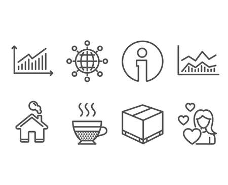 Set of Cafe creme, Graph and International globe icons. Trade infochart, Delivery box and Love signs. Hot coffee, Presentation diagram, World networking. Vector