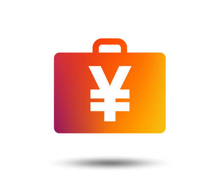 Case with Yen  sign icon. Briefcase button. Blurred gradient design element. Vivid graphic flat icon. Vector Illustration