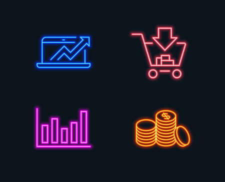 Neon lights. Set of Column chart, Sales diagram and Shopping icons. Banking money sign. Financial graph, Sale growth chart, Add to cart. Cash finance. Glowing graphic designs. Vector Illustration