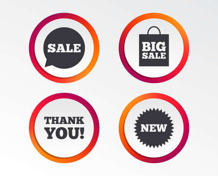 Sale speech bubble icon. Thank you symbol. New star circle sign. Big sale shopping bag. Infographic design buttons. Circle templates. Vector