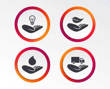 Helping hands icons. Intellectual property insurance symbol. Delivery truck sign. Save nature leaf and water drop. Infographic design buttons. Circle templates. Vector