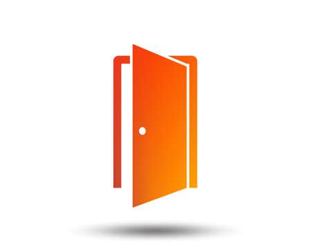 Icône de signe de porte. Entrez ou quittez le symbole. Porte intérieure. Élément de design dégradé flou. Icône plate graphique vive. Vecteur