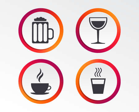 Drinks icons. Coffee cup and glass of beer, Wine glass sign. Infographic design buttons. Circle templates.