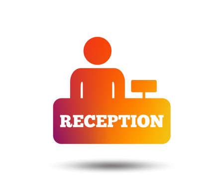 Reception sign icon. Hotel registration table with administrator symbol. Blurred gradient design element. Vivid graphic flat icon. Vector Ilustração
