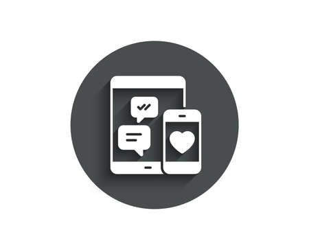 Social media messages simple icon. Mobile devices sign. Smartphone Love message symbol. Circle flat button with shadow. Vector 일러스트