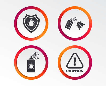 Bug disinfection icons. Caution attention and shield symbols. Insect fumigation spray sign. Infographic design buttons. Circle templates. Vector