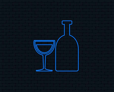 Alcohol sign icon. Drink symbol. Bottle with glass. Glowing graphic design.