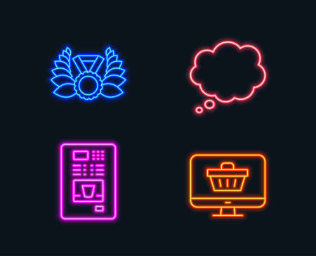 Neon lights. Set of Laureate medal, Comic message and Coffee vending icons. Web shop sign. Laurel wreath, Speech bubble, Coffee vending machine. Shopping cart.  Glowing graphic designs. Vector