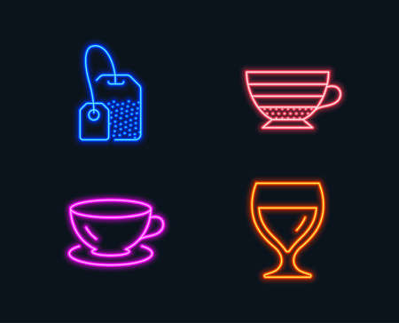 Neon lights of  Set of Espresso, Tea bag and Cappuccino icons. Wine glass sign. Coffee cup, Brew hot drink, Cabernet wineglass. Glowing graphic designs. Vector